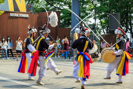 Seoul, South Korea - JUNE 09, 2015:  Tradition culture dancing ceremony performance at N Seoul Tower in Seoul city of South Korea.
