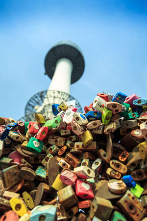 lock symbol: Seoul, South Korea - June 09, 2015: Padlock at N Seoul Tower, at Seoul tower. People believe that the locked key will keep their forever love. Editorial