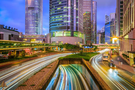 city night: Traffic In Hong Kong City At Twilight5