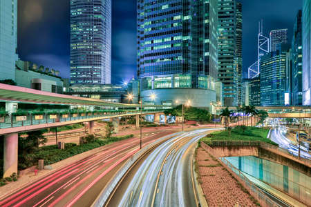 city by night: Traffic In Hong Kong City At Twilight