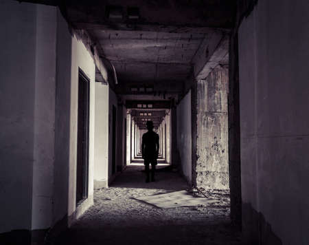 hunters tower: Ghos Hunter At Abandoned Apartment Corridor