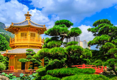 Golden Pavilion Chi Lin Nunnery Temple At Hong Kong