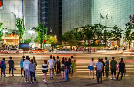 stood up: People Waiting For Crosswalk At Seoul City, South Korea