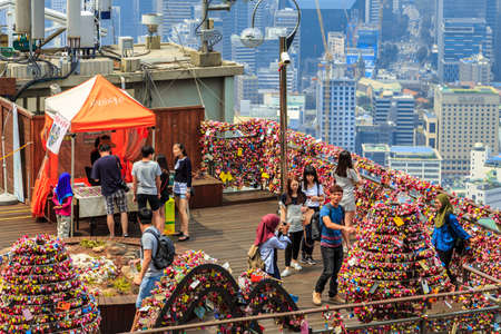 viewpoint: Seoul, South Korea - June 09, 2015: Padlock at N Seoul Tower viewpoint, at Seoul tower peak. People believe that the locked key will keep their forever love.