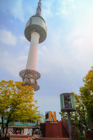 viewpoint: Seoul, South Korea - June 09, 2015: N Seoul Tower viewpoint, at Seoul tower peak garden. People believe that the locked key will keep their forever love.