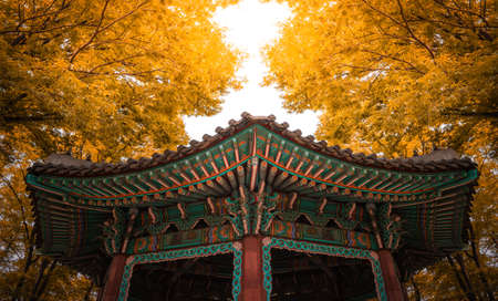 Golden Pavilion With Autumn Sunset, Seoul South Korea