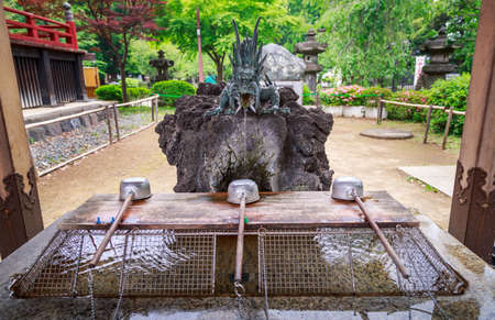 temple tank: Water pond, Tradition for hands washing before entering the temple in Japan culture