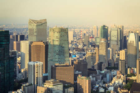 crowded: Crowded Buildings Tokyo Cityscape At Sunset Stock Photo