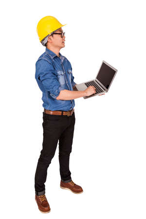 asian architect: Architect Asian Man Standing Holding Laptop Isolate On White Background