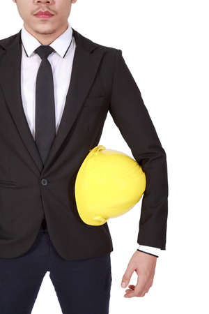 asian architect: Architect Asian Manager Businessman Standing Holding Helmet Isolate On White Background