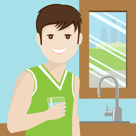 man drinking water: Man drinking water Illustration