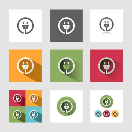 electrocuted: Plug icons set