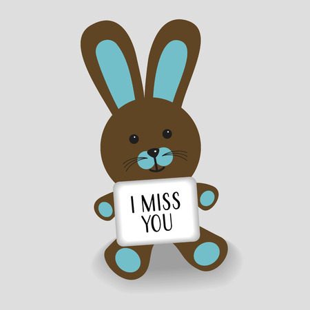 Blue bunny with message I miss you