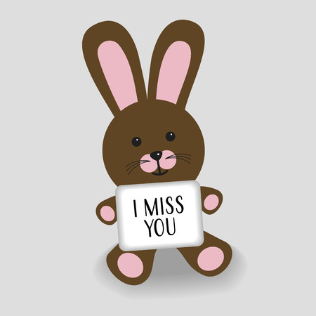 Pink bunny with message I miss you