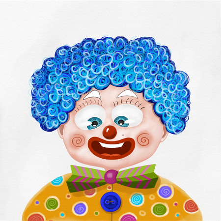 disguised: Child disguised as a clown illustration on white background