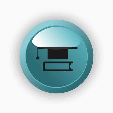 mortarboard: Mortarboard with book icon on a blue button