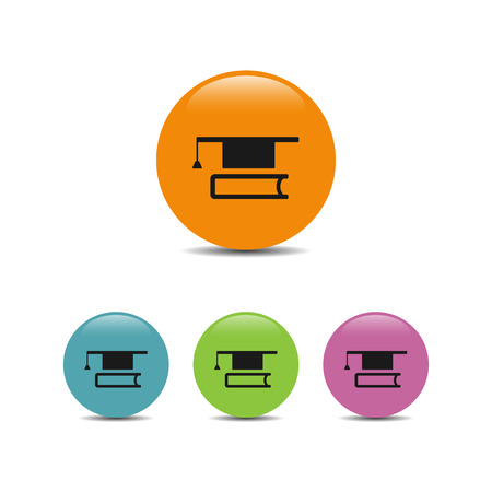 mortarboard: Mortarboard with book icon on a colores bubbles