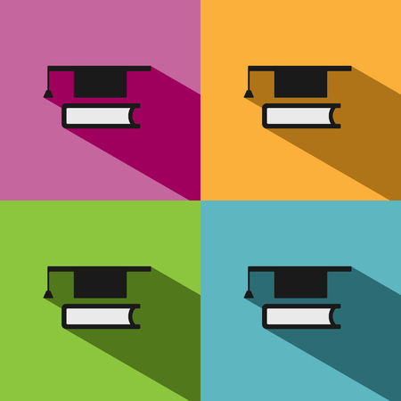 mortarboard: Mortarboard with book icon on colored backgrounds with shade Illustration