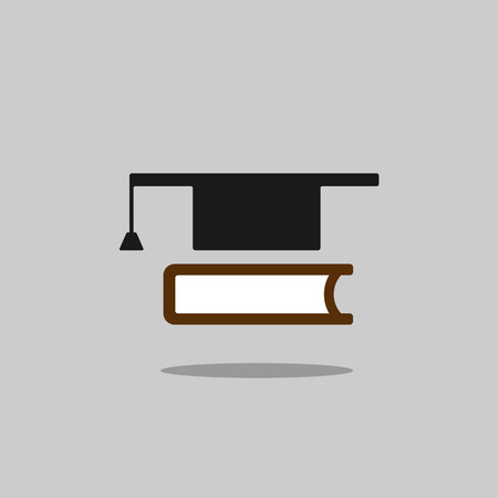 mortarboard: Mortarboard with book icon on grey background with shade