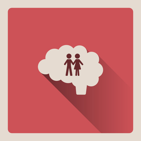 Brain thinking of the couple illustration on red square background with shade