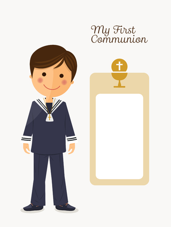 First communion child on white background with message