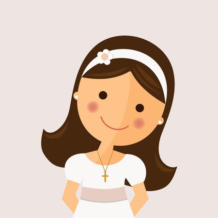Voorgrondmeisje met kerkgemeenschapkleding op okerachtergrond