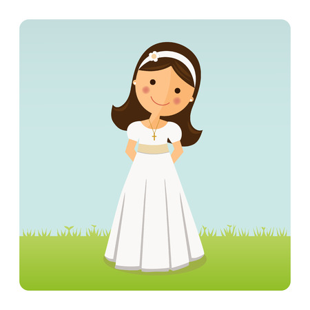 Girl with communion dress on blue sky background Illustration