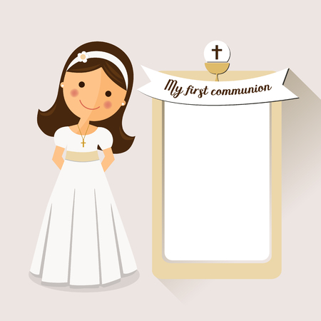 My first communion invitation communion with message and grey background Illustration