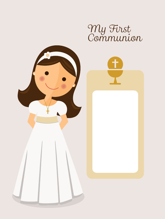 My first communion invitation with message and grey background Illustration