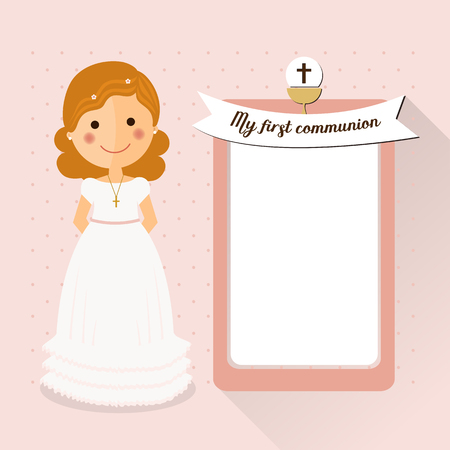 My first communion invitation with curly hair girl and message Illustration