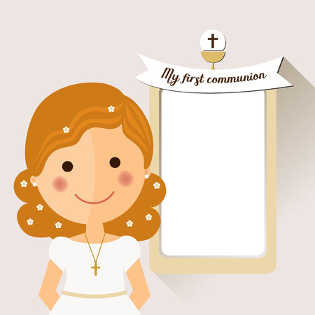 My first communion invitation with foreground girl and message on ochre background