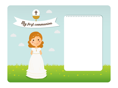 My first communion invitation with notes space