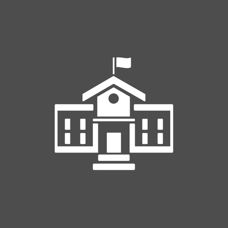 school: School building icon on a dark background