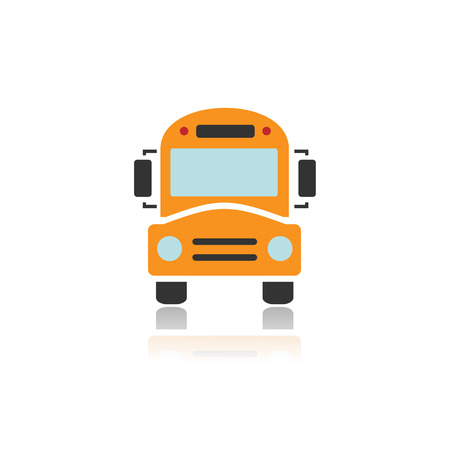 Bus school icon with color and reflection Illustration