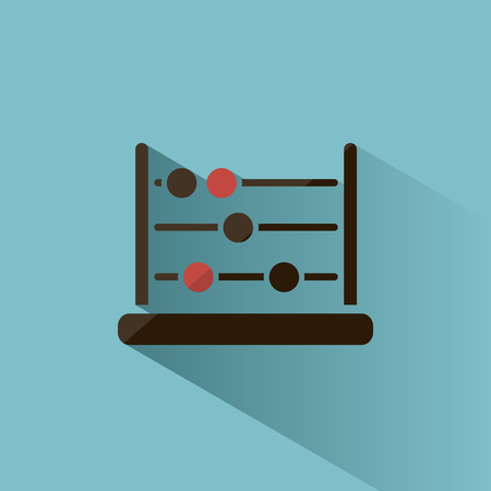 Abacus icon with shadow on blue background Illustration
