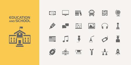 Groupe de vingt icônes scolaires et scolaires Vecteurs