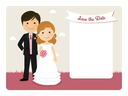 happy woman: Cartoon wedding invitation with a smiling couple