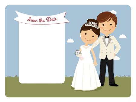 Princely style couple for wedding invitation on blue background Illusztráció