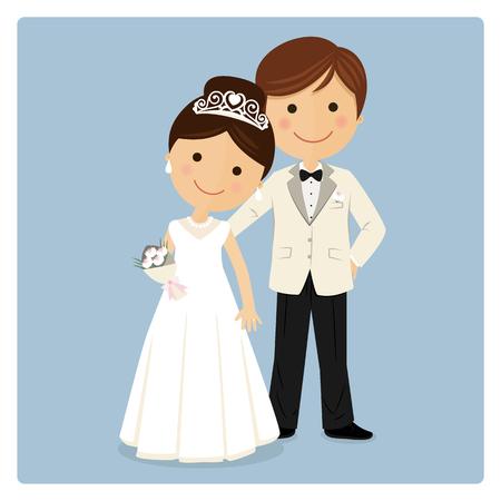 Princely style couple on blue background Vektoros illusztráció