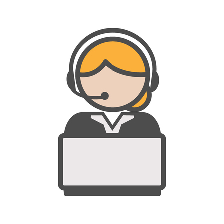Call center agent icon with blond hair and a computer Illustration