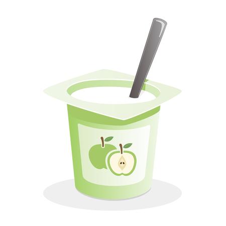 Apple-yoghurt met lepel binnen op witte achtergrond Stock Illustratie