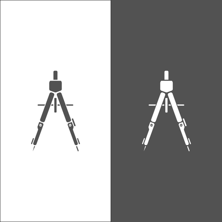 Drawing compass icon on black and white background Illustration