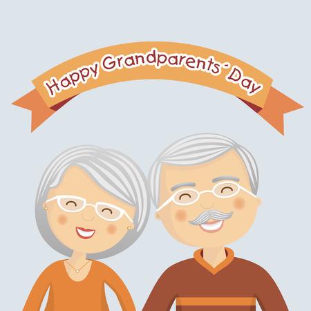 Día de abuelos felices con canas
