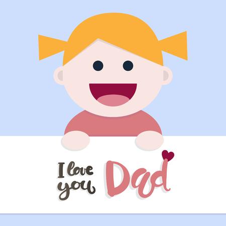 少女とお父さんを愛して言うメッセージ