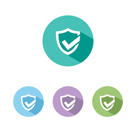 Active protection shield icon with shade on colored buttons