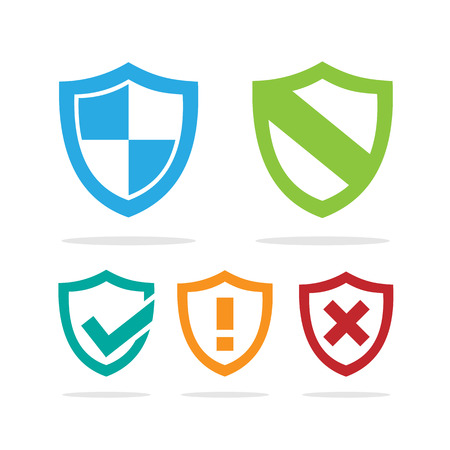 Set of colored protection shield icons on a white background illustration.