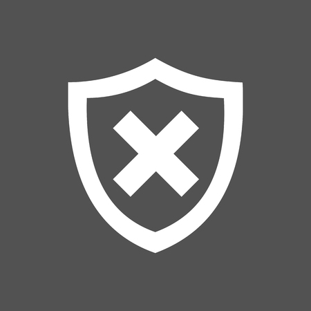 unprotected: Unprotected shield icon on a dark background