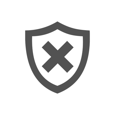 unprotected: Unprotected shield icon on a white background