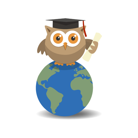 Owl graduate on globe with shade on white background.