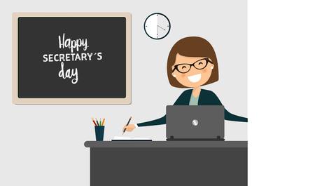 woman laptop: Happy secretarys day celebration. Illustration